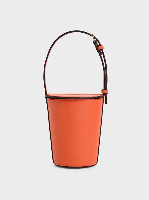 Cylindrical Bucket Bag, Orange, hi-res