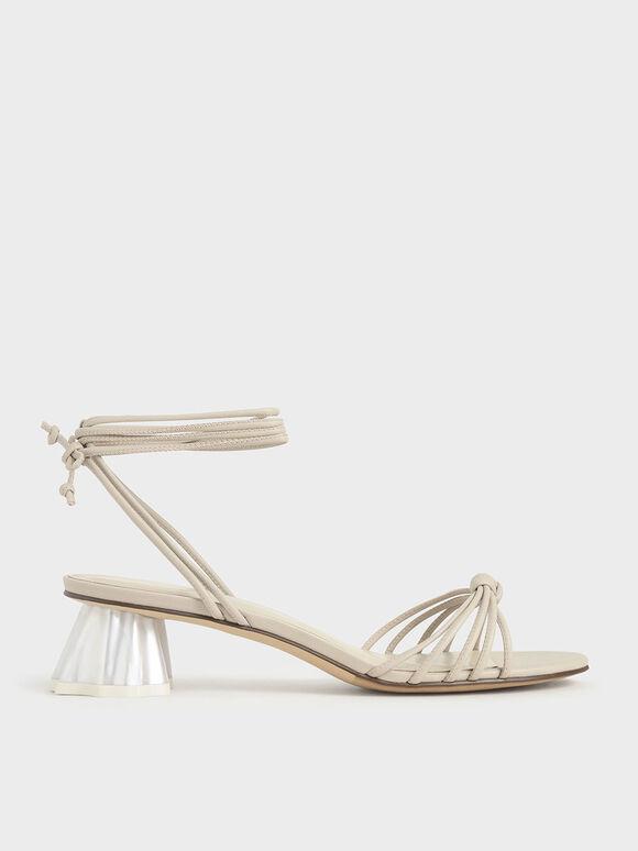 Geometric Heel Ankle Tie Sandals, Beige, hi-res