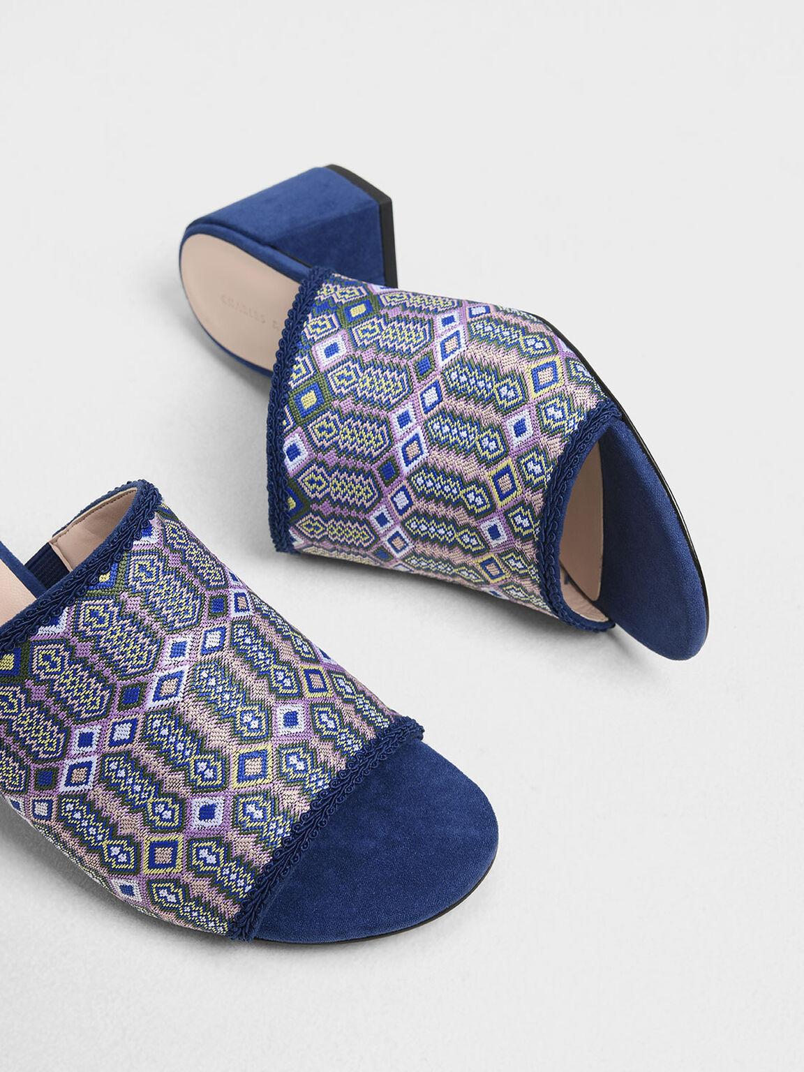 Printed Fabric Block Heel Slide Sandals, Purple, hi-res