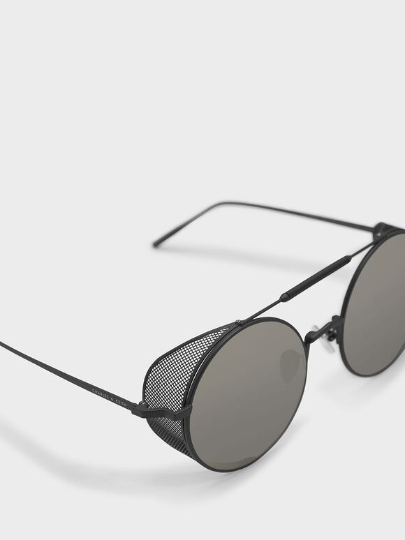 Mesh Detail Sunglasses, Gun Metal, hi-res