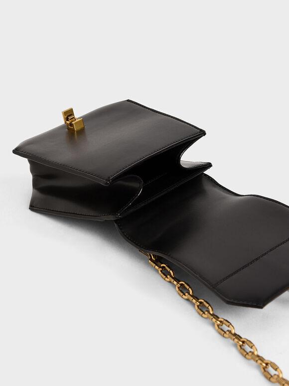 Metallic Accent Geometric Crossbody Bag, Black, hi-res