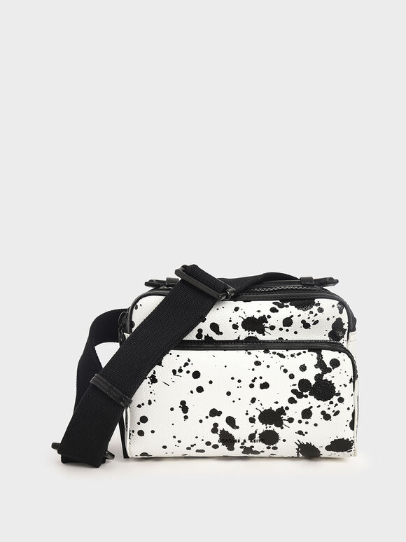 Printed Double Zip Bag, White, hi-res