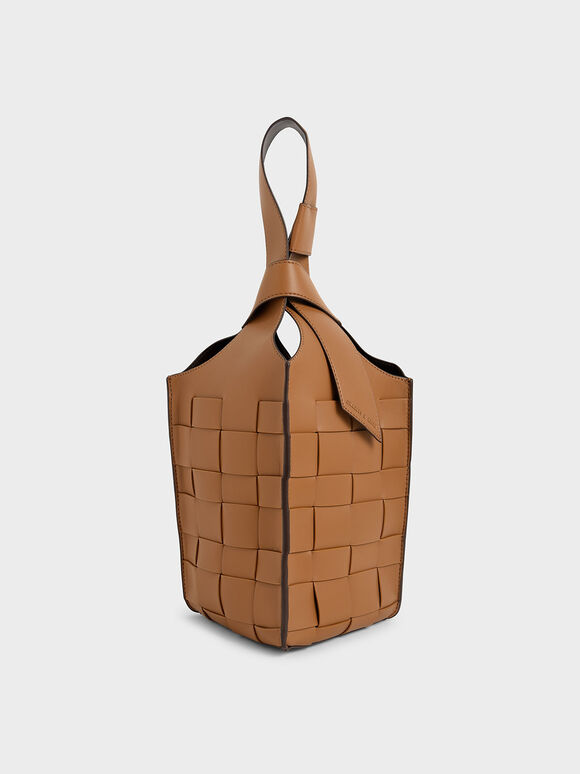 Woven Single Handle Bucket Bag, Camel, hi-res