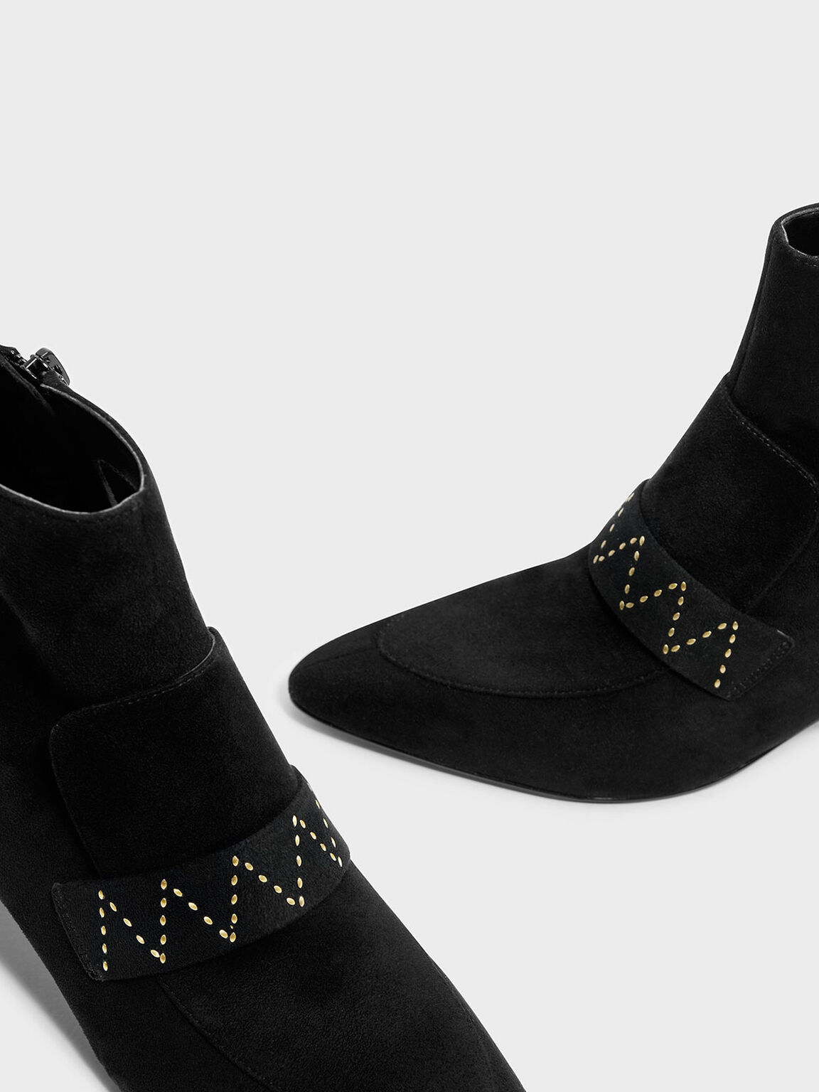 Topstitch Textured Ankle Boots, Black, hi-res