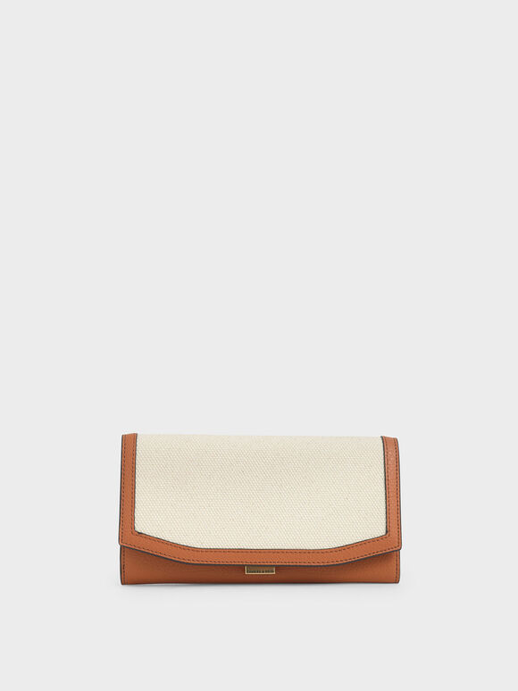 Mini Canvas Long Wallet, Cognac, hi-res
