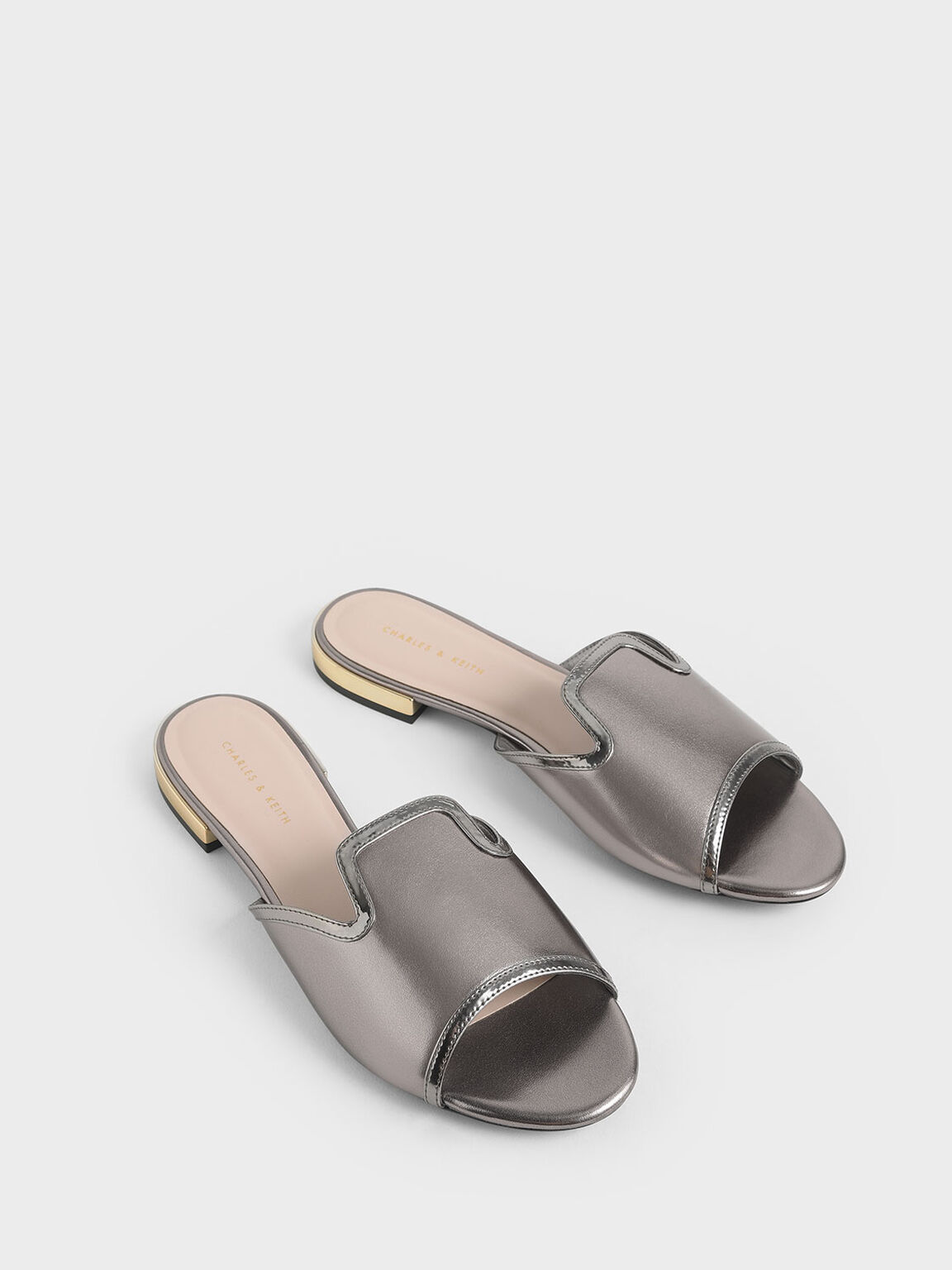 Mirror Metallic Slide Sandals, Pewter, hi-res