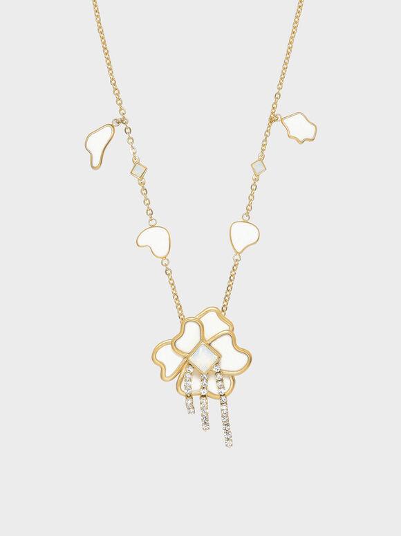 Crystal & Acrylic Petal Necklace, White, hi-res
