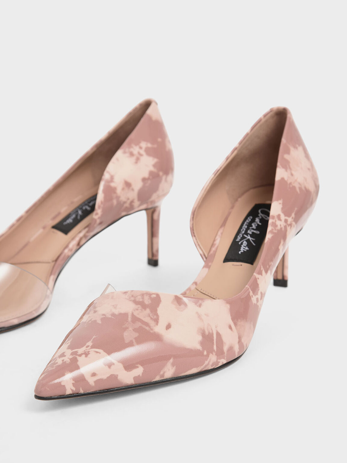 Patent Leather Printed D'Orsay Pumps, Blush, hi-res