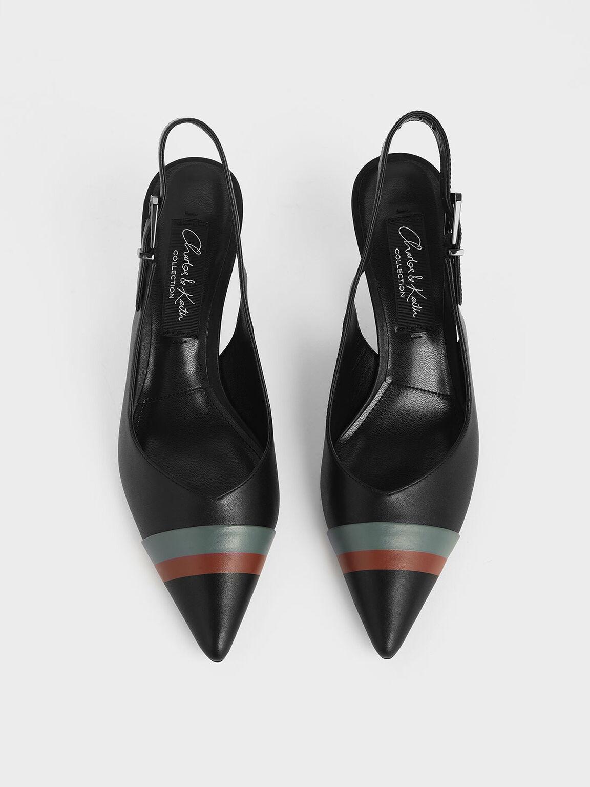 Striped Leather Slingback Heels, Black, hi-res