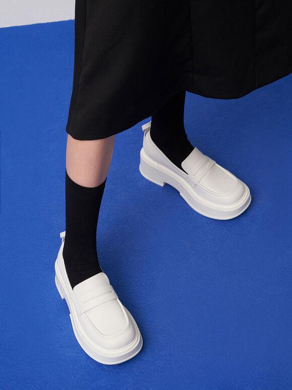 Platform Penny Loafers, White, hi-res
