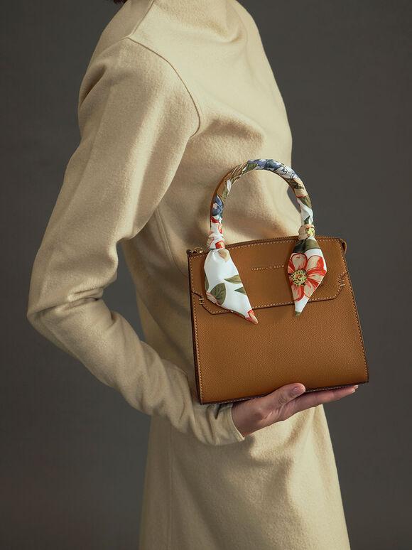 Scarf-Wrapped Top Handle Bag, Camel, hi-res