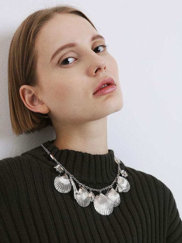 Seashell Necklace, Silver, hi-res