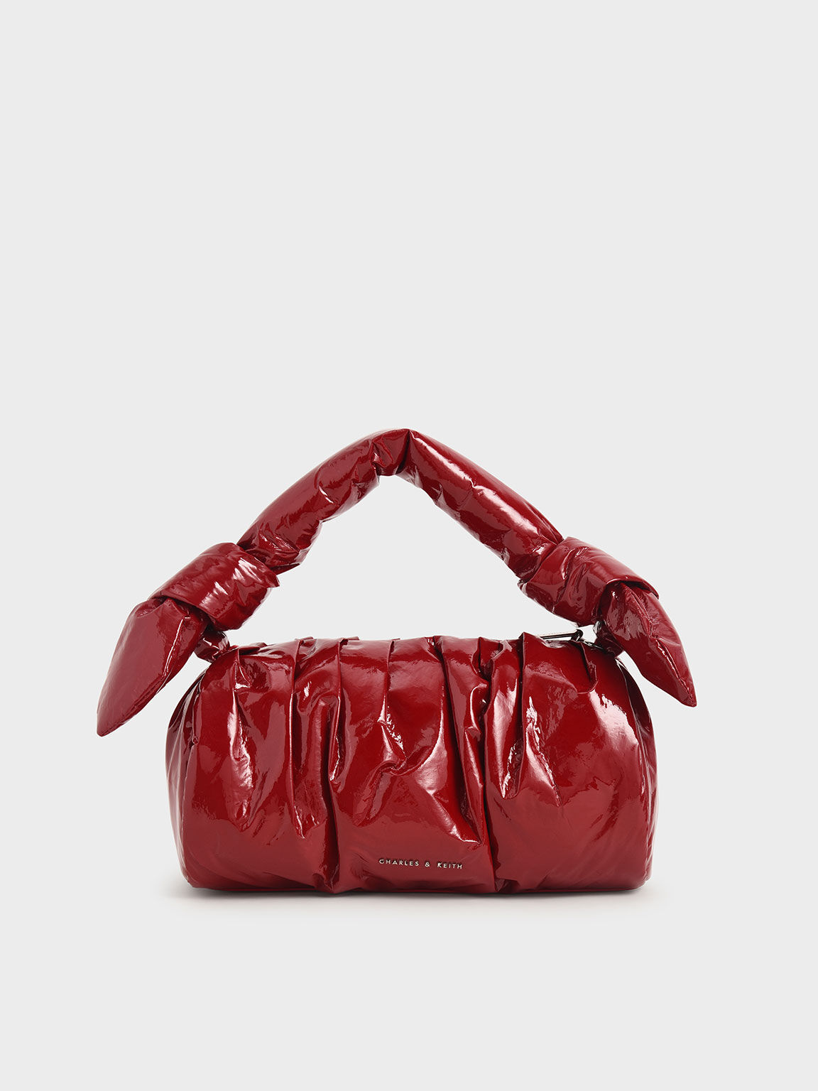 Patent Knotted Shoulder Bag, Red, hi-res