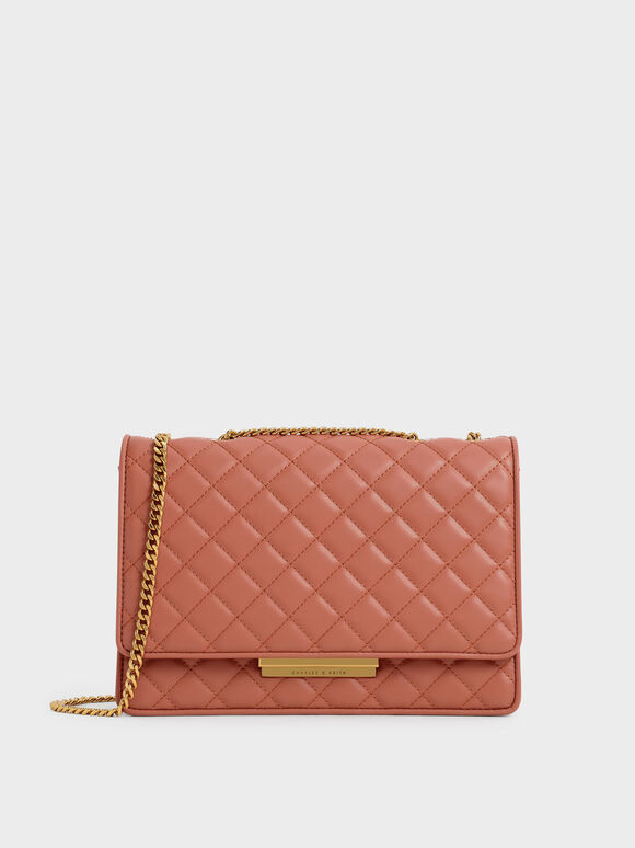 Quilted Chain Bag, Brick, hi-res