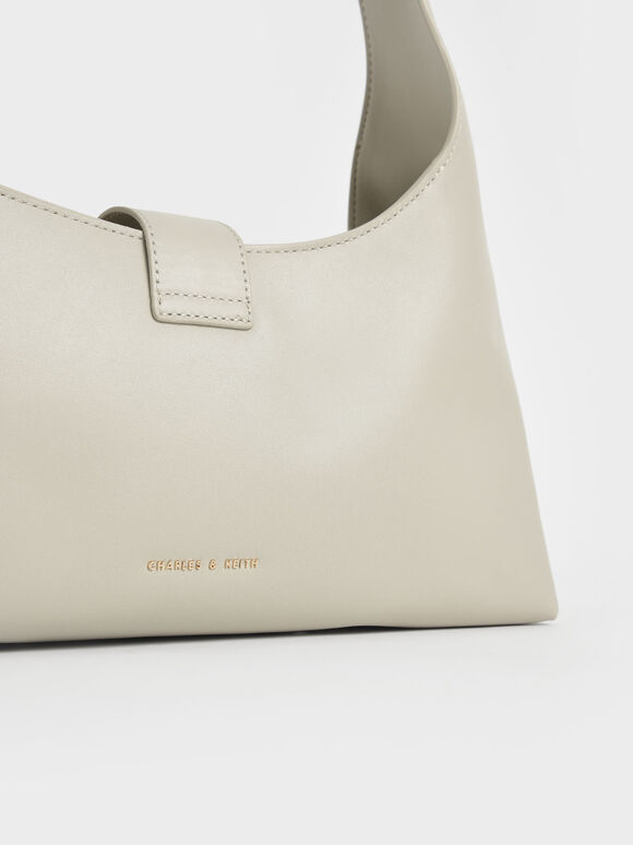 Leather Hobo Bag, Chalk, hi-res