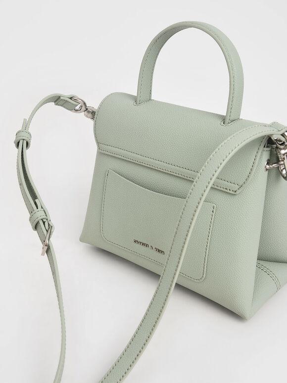 Stone-Embellished Front Flap Bag, Mint Green, hi-res