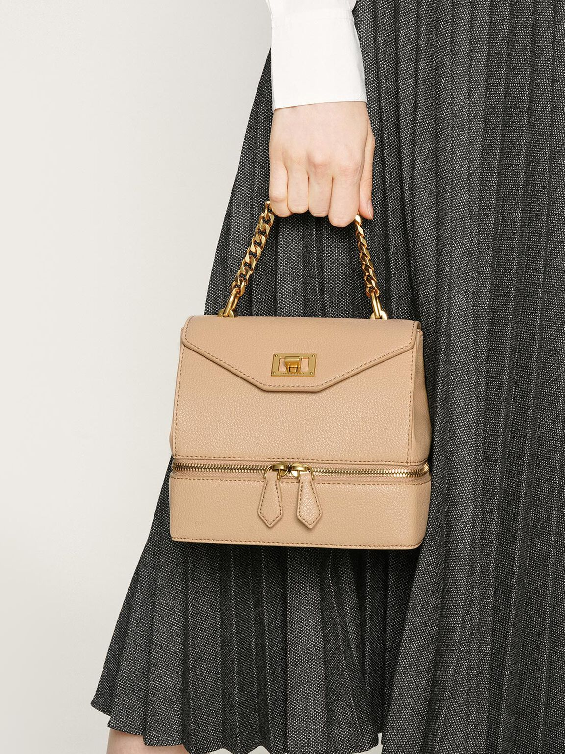 Two-Way Zip Handbag, Beige, hi-res