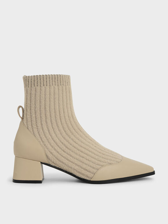 Knit Ankle Sock Boots, Beige, hi-res