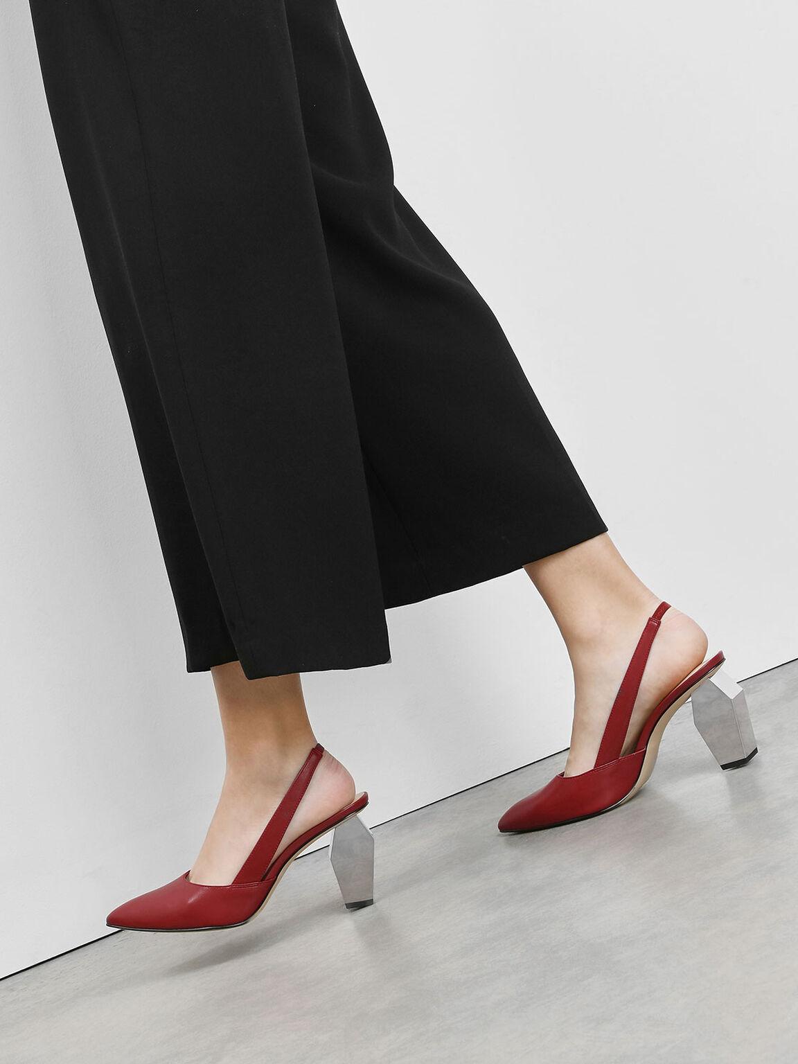 Geometric Chrome Heel Slingbacks, Red, hi-res