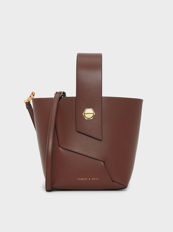 Wristlet Handle Bucket Bag, Cognac, hi-res
