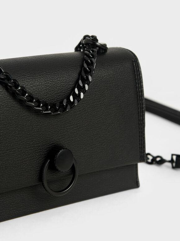 Ring Push-Lock Shoulder Bag, Ultra-Matte Black, hi-res