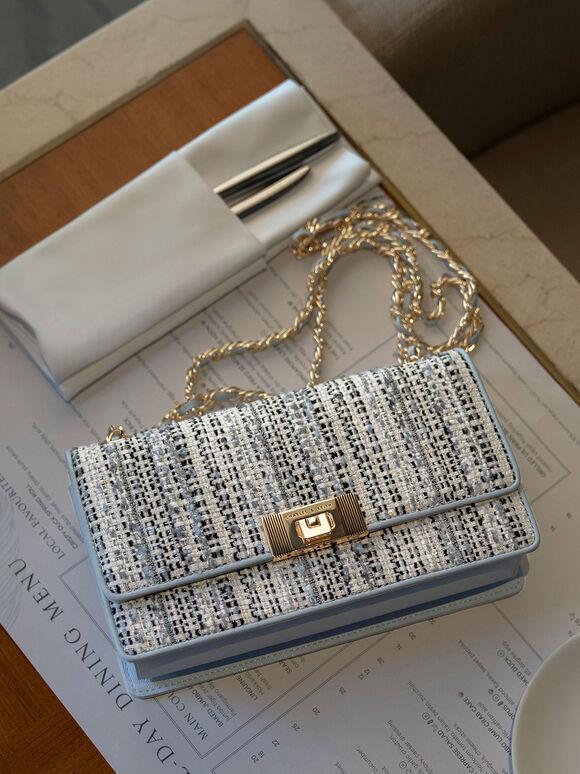 Everette Chain-Strap Tweed Shoulder Bag, Multi, hi-res