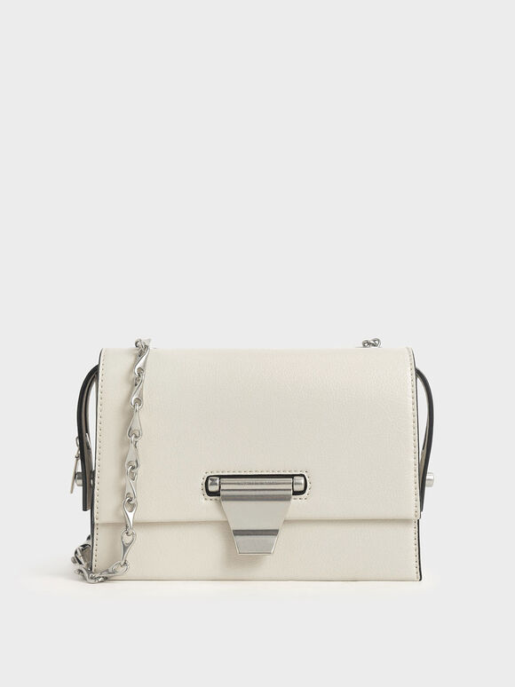 Metal Push-Lock Crossbody Bag, Cream, hi-res