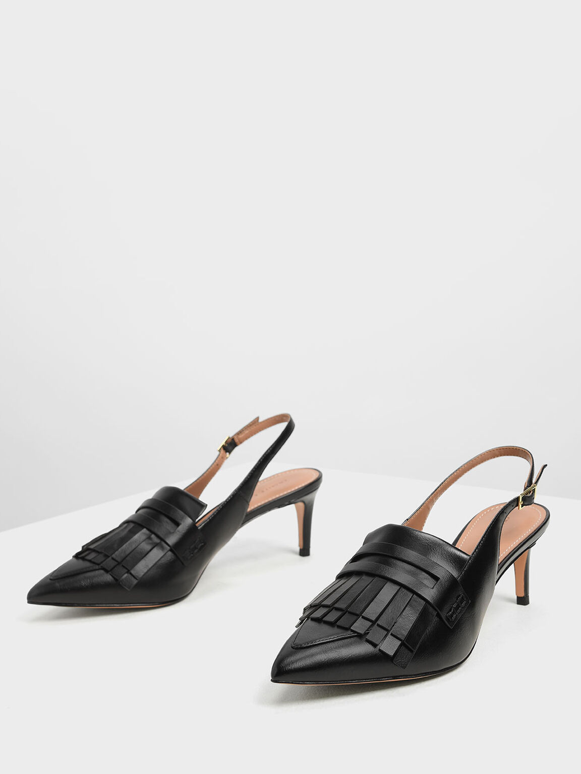 Frill Trim Slingback Pumps, Black, hi-res