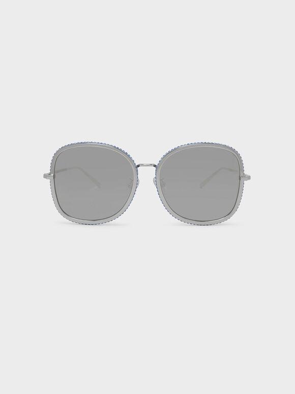 Embellished Sunglasses, Silver, hi-res