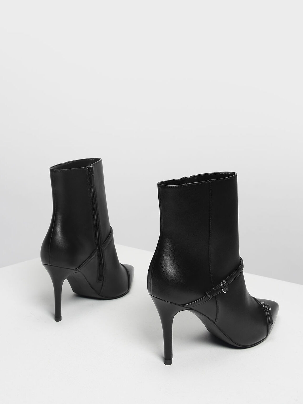 Double Strap Detail Pointed Boots, Black, hi-res