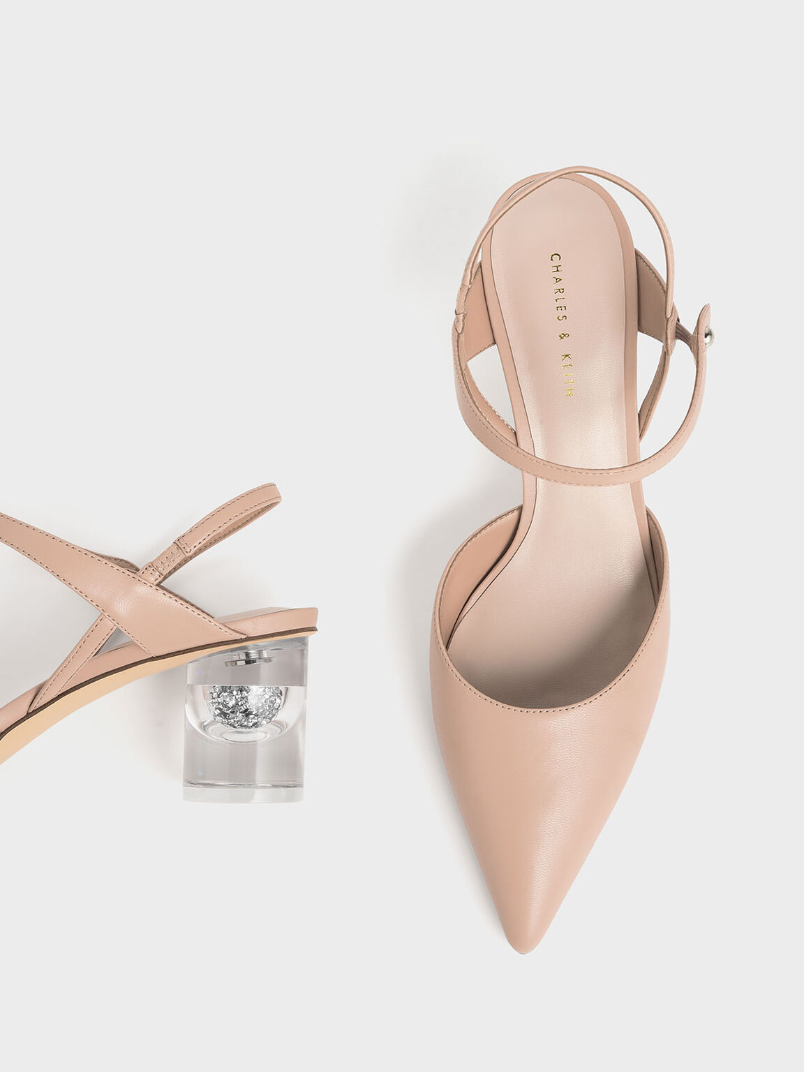 Pointed Toe Lucite Heel Cylindrical Pumps, Nude, hi-res