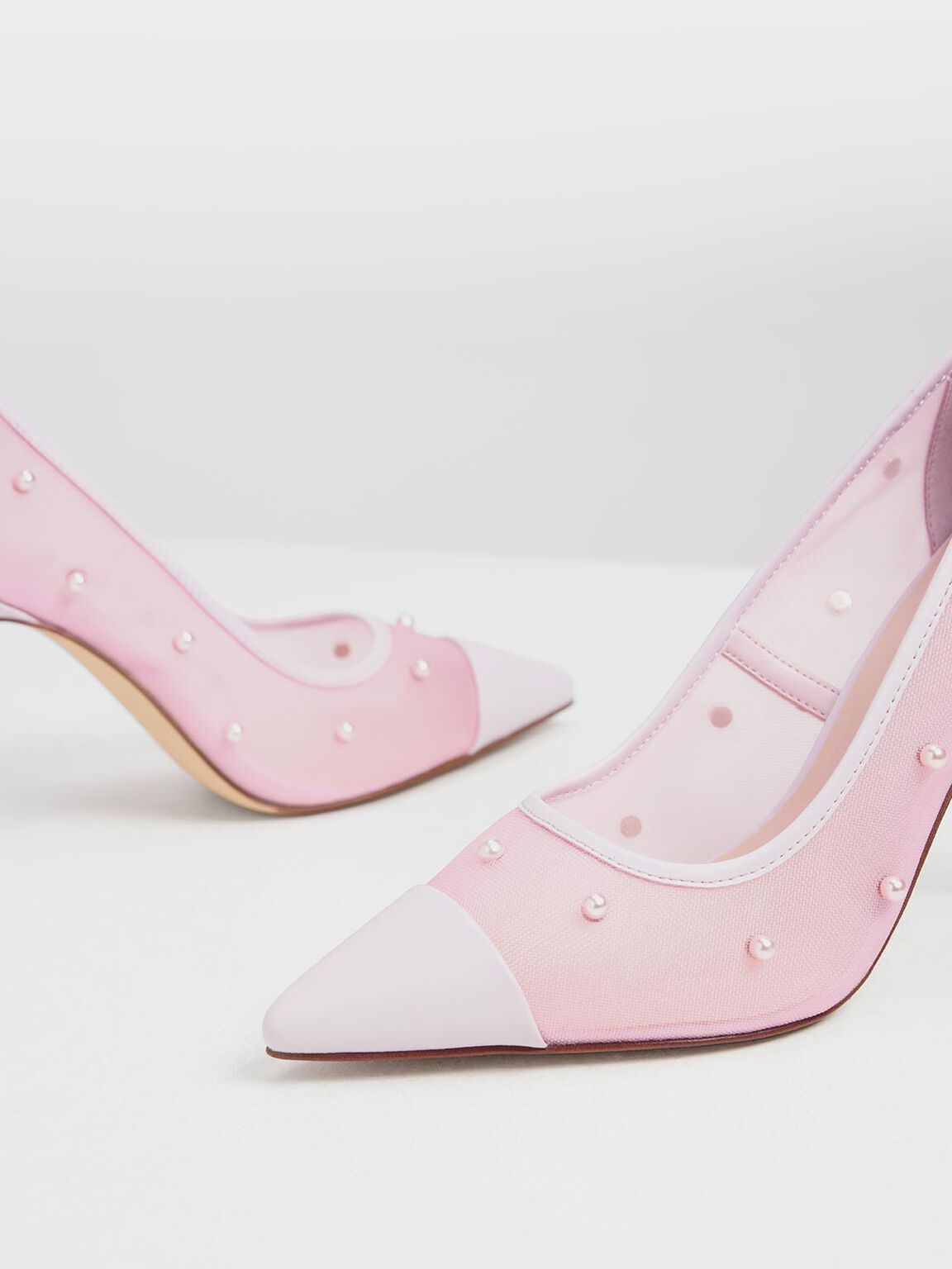 Embellished Mesh Pointed Pumps, Lilac, hi-res