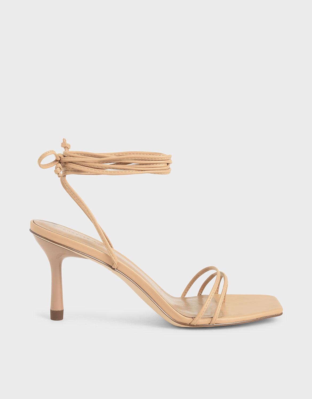 Beige Strappy Tie Up Heels | CHARLES