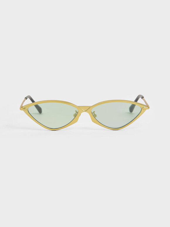 Metal Frame Cat-Eye Sunglasses, Green, hi-res