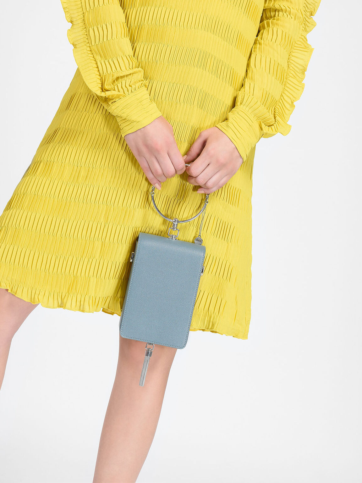 Circular Handle Clutch, Steel Blue, hi-res