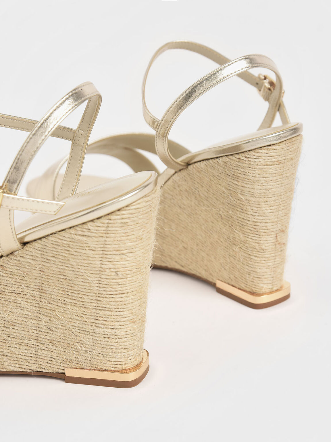 Metallic Asymmetric Strap Platform Wedges, Gold, hi-res