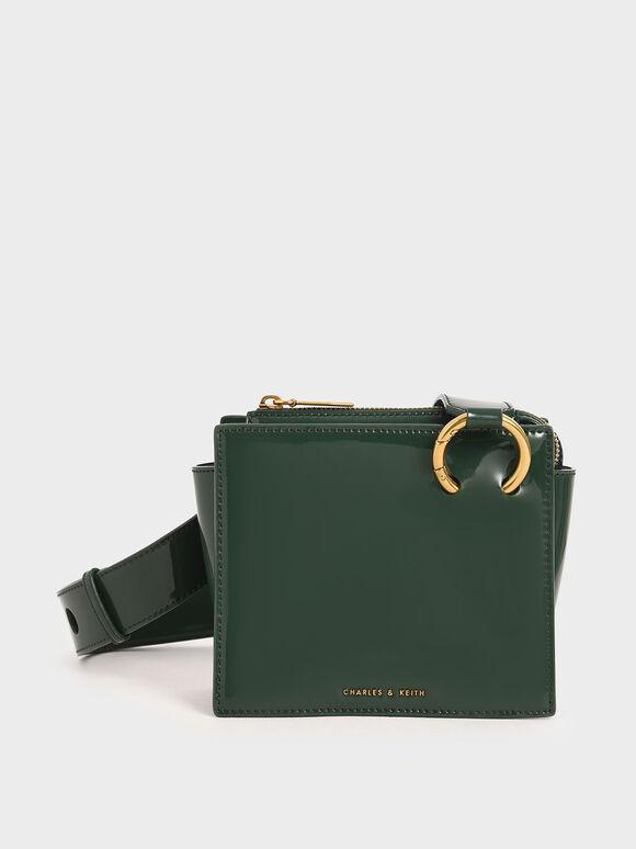 Patent Square Crossbody Bag, Dark Green, hi-res