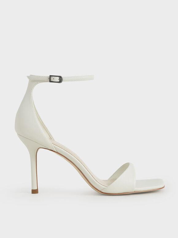 Ankle Strap Heeled Sandals, White, hi-res