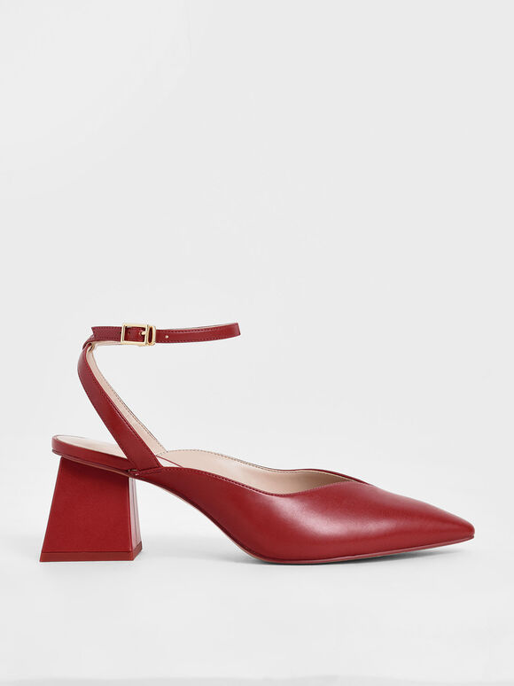Sweetheart-Cut Pumps, Red, hi-res