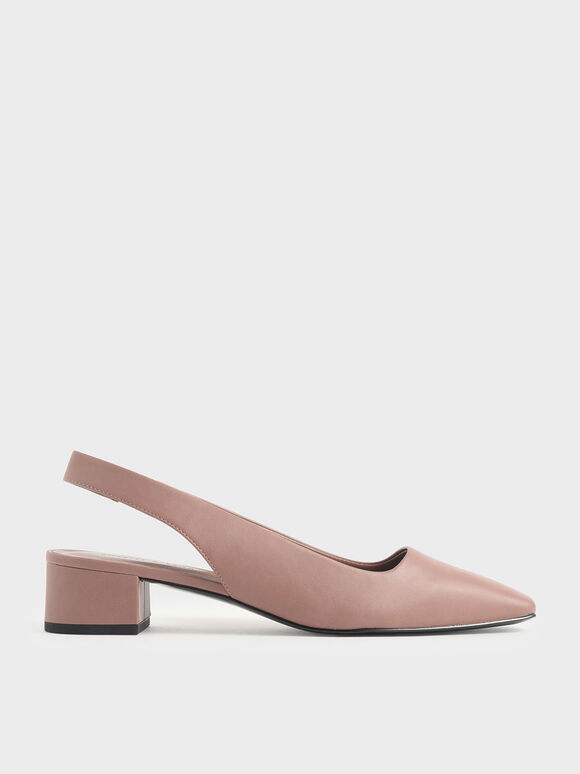 Square Toe Block Heel Slingback Pumps, Pink, hi-res