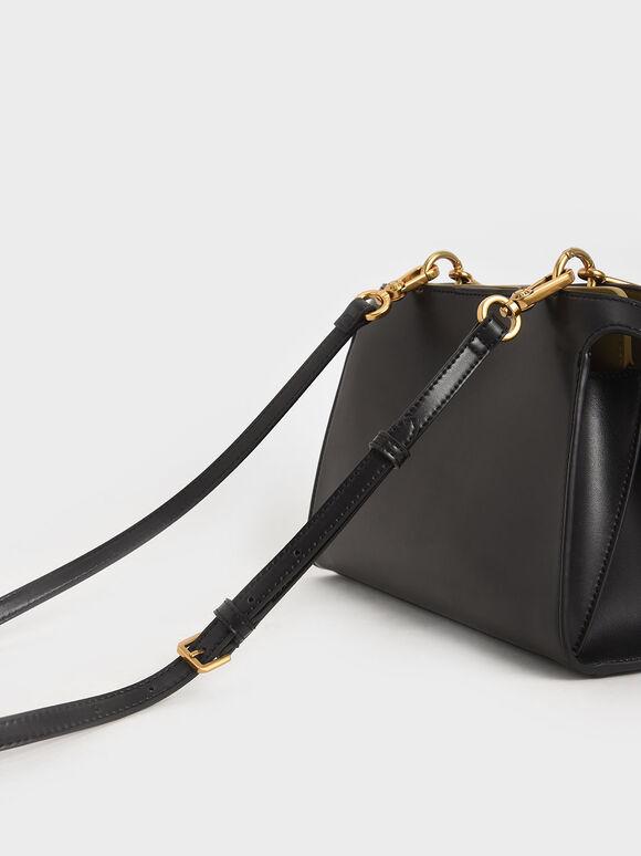 Metal Handle Trapeze Bag, Black, hi-res