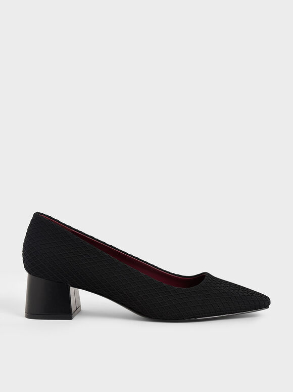 Mesh Square Toe Block Heel Pumps, Black Textured, hi-res