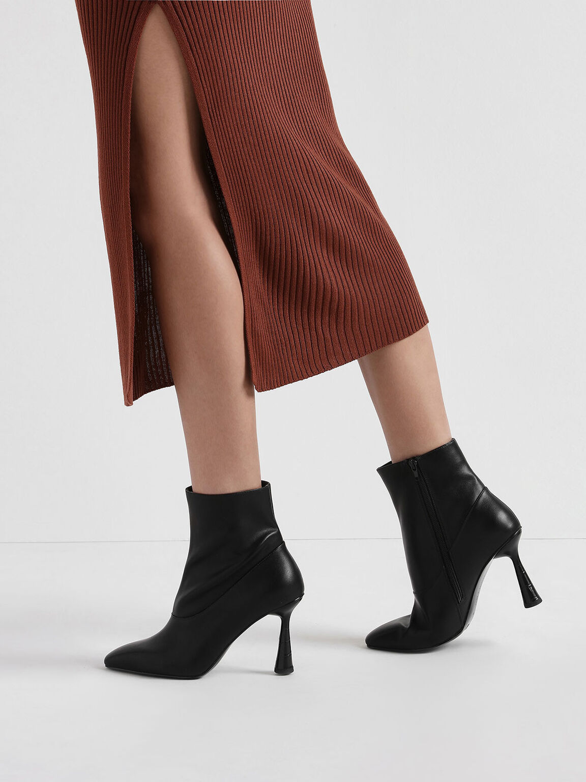 Croc-Effect Sculptural Heel Ankle Boots, Black, hi-res