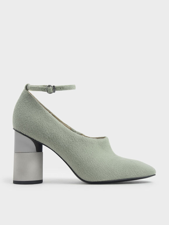 Ankle Strap Concrete Heel Pump, Sage Green, hi-res