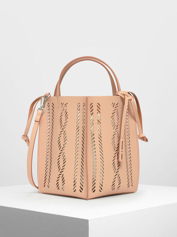 Laser-Cut Bucket Bag, Beige, hi-res