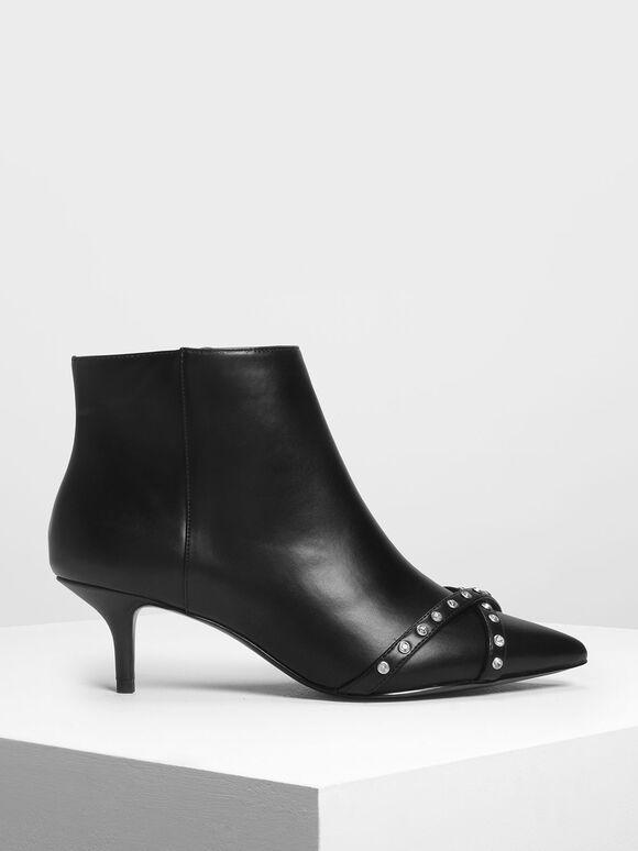 Embellished Pointed Boots, Black, hi-res