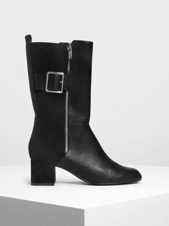 Buckle Detail Calf Boots, Black, hi-res