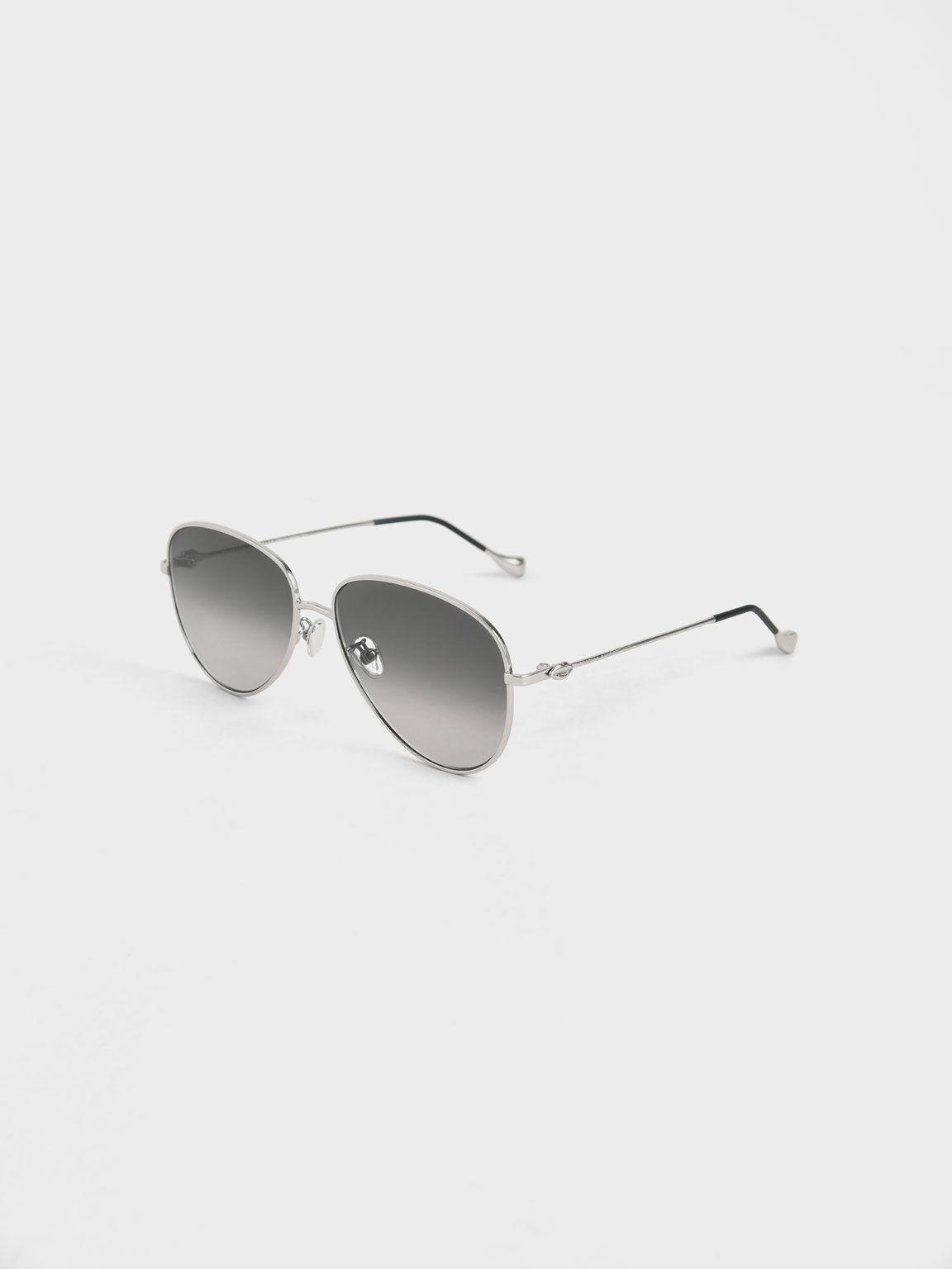 Aviator Sunglasses, Silver, hi-res