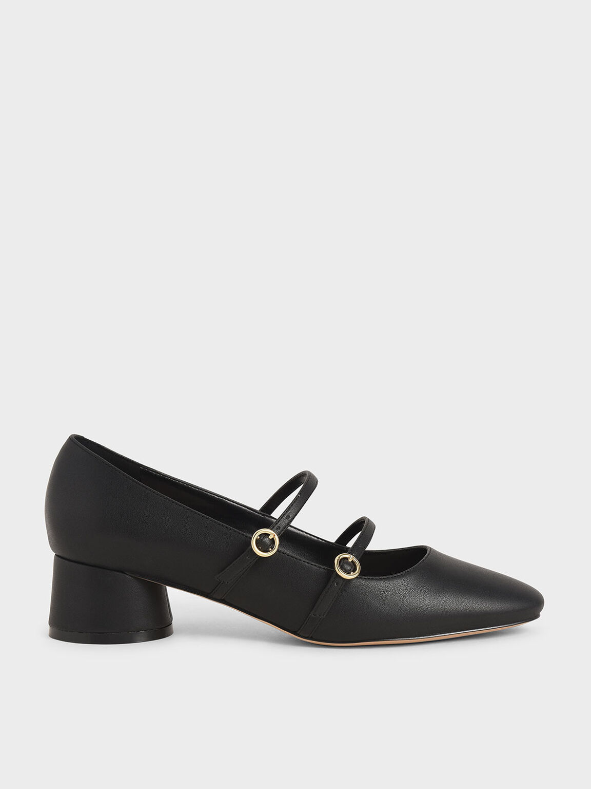 Cylindrical Heel Mary Janes, Black, hi-res