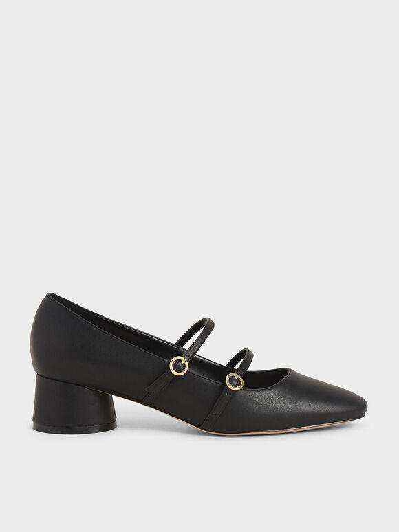 Cylindrical Heel Mary Janes, Black, hi-res